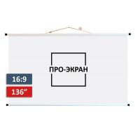 Экран для проектора ПРО-ЭКРАН 300 на 169 см (16:9), 136 дюймов