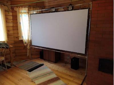 Экран прямой проекции на раме с опорой ПРО-ЭКРАН 220х124 см для дома